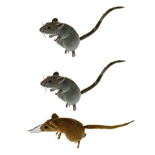 Fenteer Realistische Maus Tier Ornament Kühlschrankmagnet Mäuse Spielzeug Topf Kleiderbügel Dekor - 3pcs