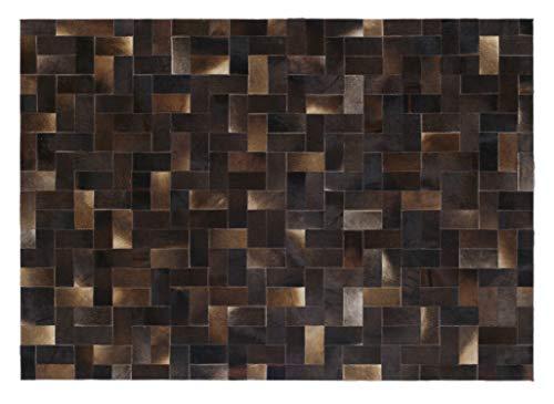 MUHKUH BOX Rinderfell Lederteppich Patchwork in dk.braun, Größe: 70x140 cm