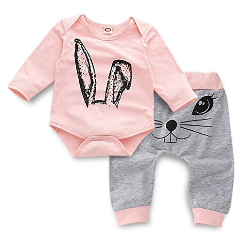 K-youth Ropa Bebé Niña Conjunto Niña Pantalon y Top Fiesta Bebé Niña Niños Mamelucos de Manga Larga de Conejo de impresión Elegante Otoño Ropa para Bebe Niña Recien Nacido (Rosa, 0-6 Meses)