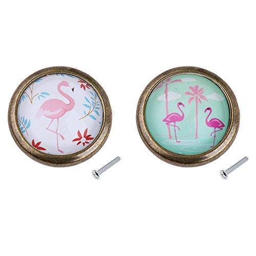 MagiDeal 2 Stück Flamingo Möbelknopf Knopf Griffe Knöpfe für Tür Schrank Dekor