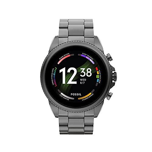 Fossil Gen 6 Herren-Smartwatch Edelstahl schwarz Edelstahlband rauchgrau, FTW4059