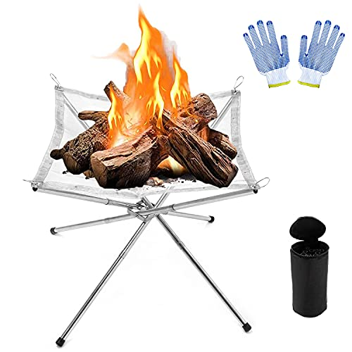 Vinclus Portable Camping Fire Pit,Collapsing Stainless Steel Patio Outdoor Campfire Bonfire Heater Firepit,Fireplace Backyard Garden BBQ Backyard Foldable |16.5 inch with Carrying Bag