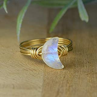 Crescent Moon Rainbow Moonstone Gemstone and Sterling Silver OR Gold Filled Wire Wrapped Ring- Custom Made to Size 4-14