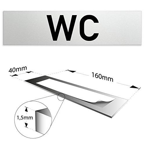 "Aluminium WC - Toiletten Türschild ""WC"" 160 x 40 x 1,5mm (Oberfläche veredelt) • Selbstklebend"