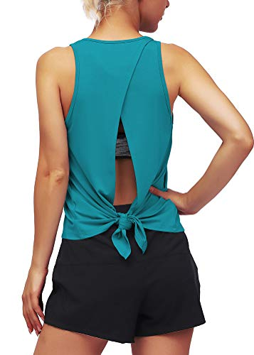Mippo Womens Open Back Workout Tops Cute Yoga Fitness Clothes Tie Back Funny Athletic Dance Tops Pilates Gym Shirts Funny Workout Tanks for Women Blue Green L