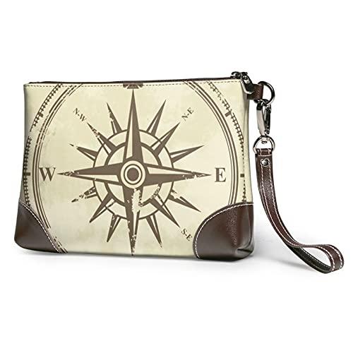 mengmeng Vintage Compass 1 bolso de la pulsera de cuero genuino bolsos de pulsera para las mujeres bolso de embrague bolsos con correa de muñeca y cierre de cremallera