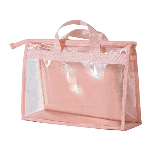 LOVIVER 1 Pza Bolso de Mano Transparente Transpirable para Mujer Bolsa de Almacenamiento Artesanal con Cremallera - Rosa M