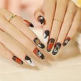 YZDKJ 24 unids Medio Longitud Stiletto Detachable Estilo de Halloween Nails Wearable Fake Nails Tapa Completa Tapa de uñas Pulse Presione en Las uñas (Color : 14)