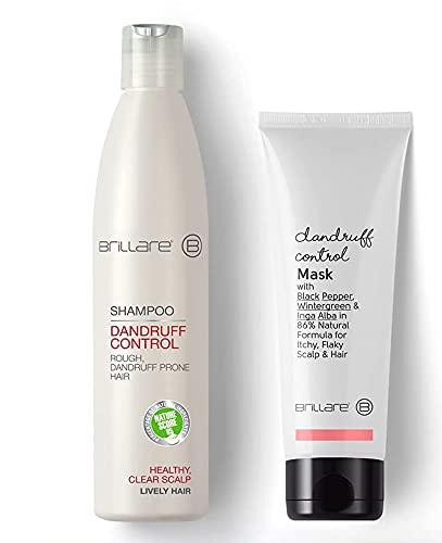 Glamorous Hub Brillare Combo de tratamiento anticaspa para cabello áspero y propenso caspa, acondicionador y inyecciones de aceite para el control de la caspa (paquete de 8 inyecciones), 100% vegano
