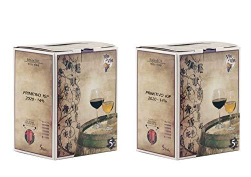 Confezione 2 Bag in Box da 5 L di VINO PRIMITIVO IGP IGT rosso CAMPANIA 14% Sfuso da Azienda Agricola