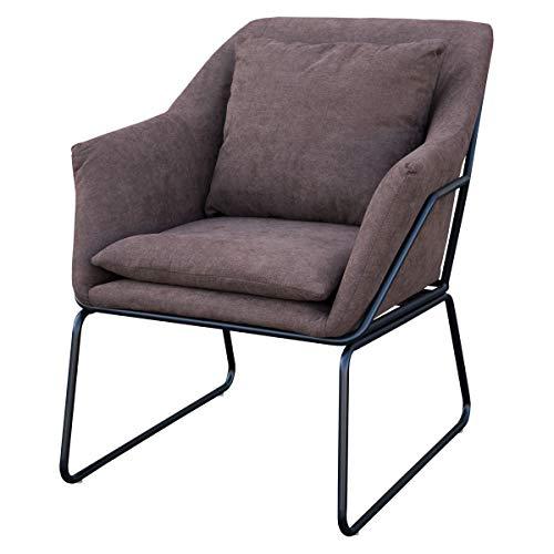 SVITA Josie Sessel gepolstert Beistellsessel Lounge Couch Einzelsofa Relaxsessel Seat Fernsehsessel Stoff inkl. Kissen Stuhl Samt (Braun, Stoff)