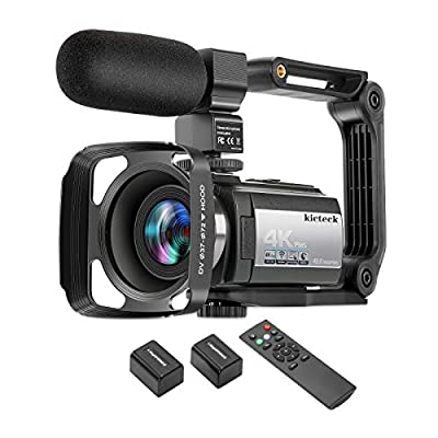 Video Camera Camcorder 4K 60FPS kicteck Ultra HD Digital WiFi Camera 48MP 3 inch Touch Screen Night Vision 16X Digital Zoom Recorder with External Microphone, Remote Control, Lens Hood, Stabilizer from kicteck
