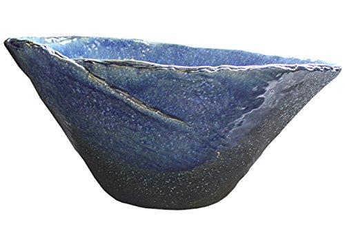 青ガラスひねり水鉢20号 信楽焼 睡蓮鉢 めだか鉢 水鉢 陶器