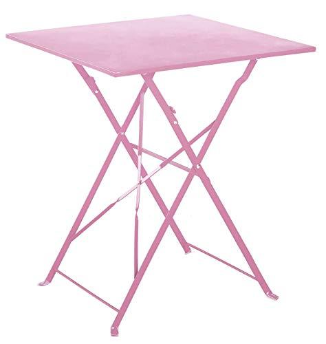 PEGANE Table de Jardin Pliante en Acier Coloris chamallow - Dim : 60 x 60 x 70cm