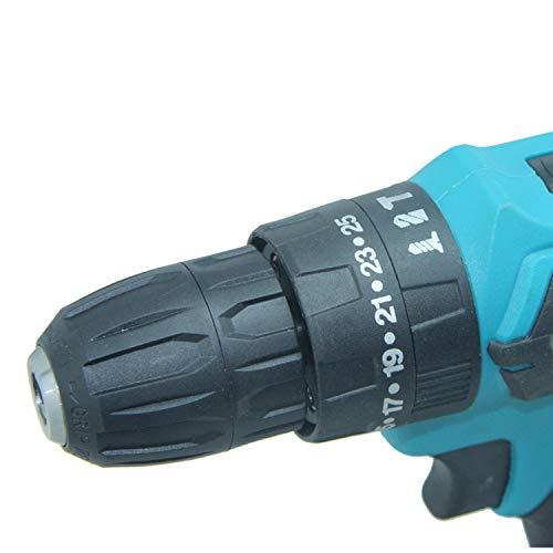 Blauw 21V / 24V accu-boorschroevendraaierset - huishoudelijke DIY elektrische schroevendraaier kit - 21V / 24V oplaadbare 2 x lithium-ion accu met opbergbak, drill. A