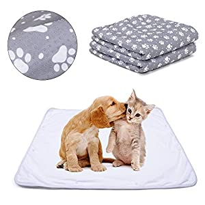 Teamoy Waterproof Dog Blankets(Pack of 2), Reusable Pee Pads for Dogs with Non-Slip Design Fit for Floor, Bed, Sofa and More, White Liner