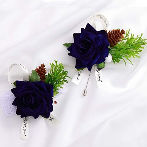 Campsis Wedding Wrist Corsage and Boutonniere Set Wristband Buttonholes Wedding Flowers Prom Suit Decoration for Groom Groomsman Best Man and Girl Brides (Dark Blue)