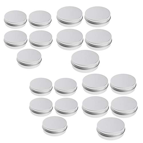 IPOTCH 20pcs 5ml + 15ml Boite Aluminium Vide Pot de Baume à Lèvres Stockage de Eventail de Lotions, Crèmes, Pommades