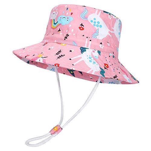 MASOCIO Baby Kinder Sonnenhut Sommermütze Mädchen Mütze Hut Breiter Krempe Sommerhut Alter 3-6 Jahre Rosa