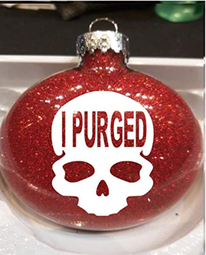 Toll2452 Christmas Ornament I Purged Election Day Red Glitter Holiday Ornament Shatterproof Ornament Ball
