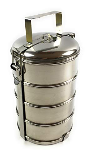 Cosmo Home Essenträger aus Edelstahl - Essensträger Essenbehälter Speisebehälter (4-teilig Durchmesser 16cm)