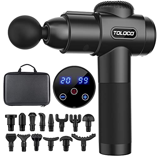 TOLOCO Massage Gun, Upgrade Percussion Muscle Massage Gun for Athletes, Handheld Deep Tissue Massager