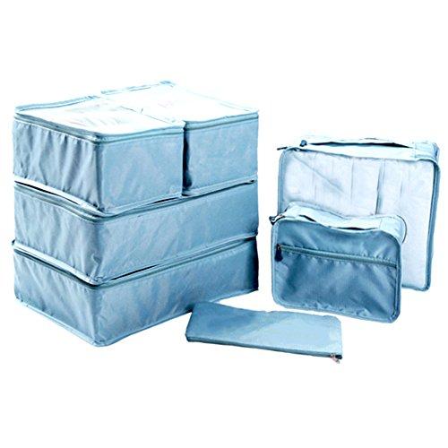 Ewparts 7 Travel Pack imballaggio organizzatori Set, imballaggio cubi Borse essenziali in borsa da viaggio di immagazzinaggio di nylon impermeabile con coulisse sacchetto asciutto, per i vestiti Valigia Deposito bagagli Lavanderia sacchetti