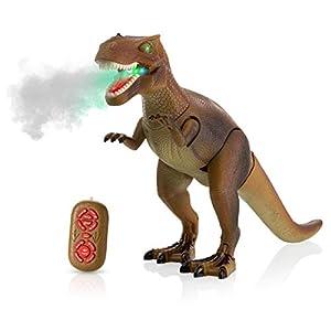 Advanced Play Dinosaur Trex Toy Realistic Walking Tyrannosaurus Rex Multifunction RC Trex Toy Figure with Roaring Spraying Function Good Dinosaur Toys for Boys Girls Ages 3 Plus