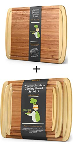 Extra Large Bamboo Cutting Board and 3pc Bamboo Cutting Board Set by Greener Chef