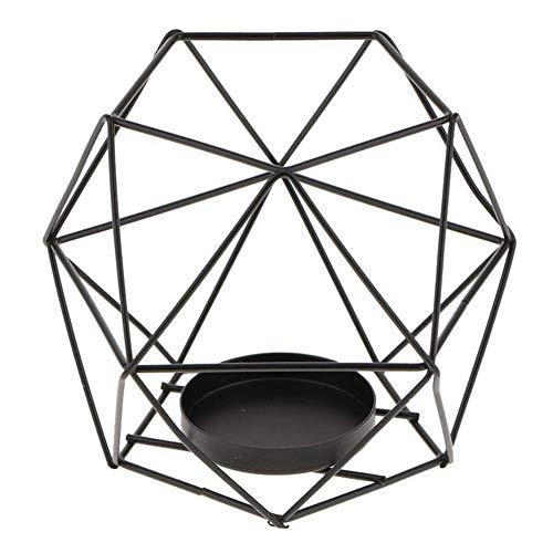 JIESD-Z - Portavelas de hierro con diseño geométrico nórdico, de hierro y hierro, romántico y duradero, para decoración de bodas y fiestas
