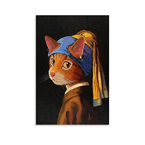 JKLM Poster con orecchini a forma di gatto con perle e stampe decorative su tela, 50 x 75 cm