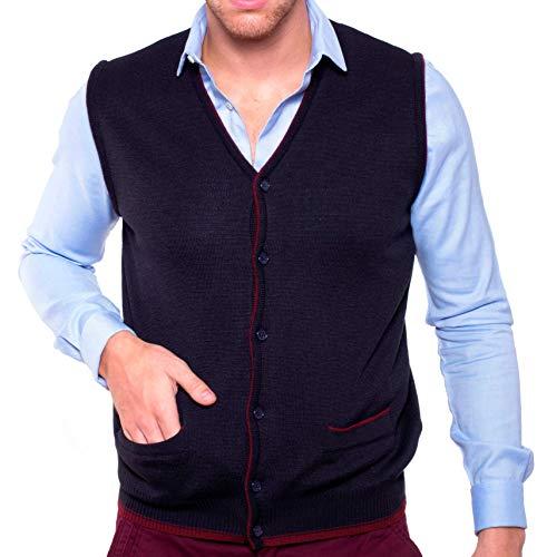 Dipuman- Gilet da uomo lavorato a maglia, aperto, con bottoni e tasche. Bordatura a contrasto. Marino XXXXXL