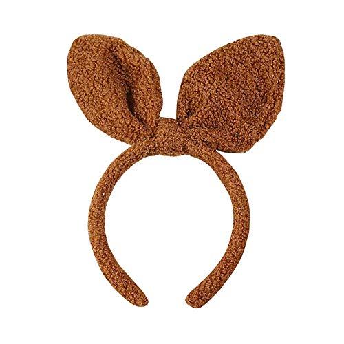 Headband Bunny Rabbit Ears Fluffy Soft Cute Fashion Hoop Hairband Halloween Christmas Party Birthday Headwear Cosplay Costume for Girls Boys Toddlers Kids Adults,like teddy dog toy poodle (brown)