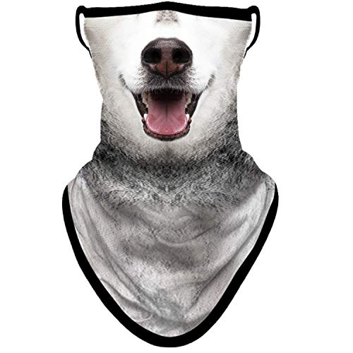 BNKIBN Animal Dog Bandana Mask with Ear Loops Neck Gaiter Face Cover Scarf for Men Women for Sun Dust Wind (0408)