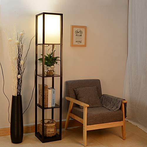 ラック付きフロアライト木製LED電球E262段調色引き線スイッチ組立式間接照明リビング寝室書斎適用(黒)