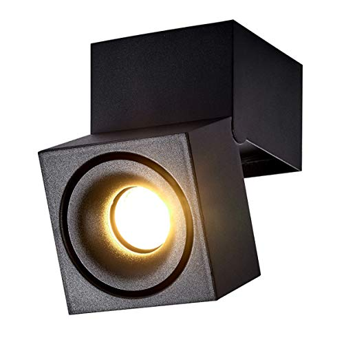 Dr.lazy 15W LED Aufbauleuchte Deckenleuchte,Deckenspots, wandleuchten,Deckenfluter,Deckenstrahler,DeckenLampe,Deckenbeleuchtung,Falten Drehen Aufputz Deckenleuchte,Aluminium,10x10x15CM (Schwarz-3000K)