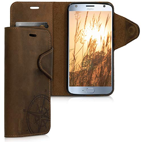 kalibri Wallet Hülle kompatibel mit Motorola Moto X4 - Hülle Leder - Handy Cover Handyhülle Kompass Vintage Braun
