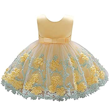 Dressy Daisy Baby Girls Wedding Flower Girl Pageant Dress Party Tulle Skirt for Special Occasion Size 12-18 Months Yellow