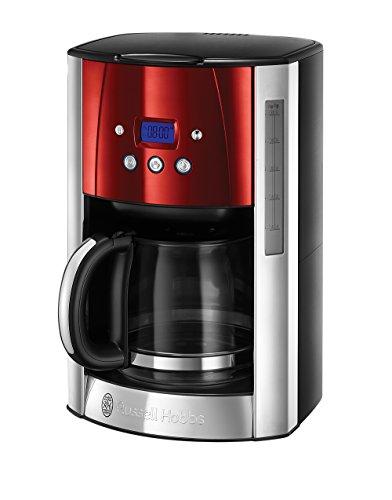 Russell Hobbs Digitale Kaffeemaschine Luna rot, bis 12 Tassen, 1,5l Glaskanne, programmierbarer Timer, Warmhalteplatte, Abschaltautomatik, 1000W, Filterkaffeemaschine 23240-56