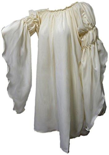 Renaissance Medieval Peasant Dress Up Pirate Faire Celtic Blouse (Cream)