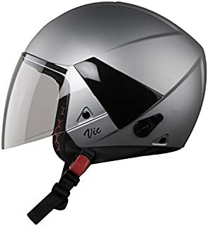Steelbird Hi-Gn SBH-5 VIC Open Face Helmet with Plain Visor (Female, Glossy Silver, M)