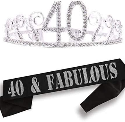 40th Birthday Gifts for Women, 40th Birthday Tiara and Sash, 40th Birthday Party Supplies| 40 & Fabulous Black Glitte...