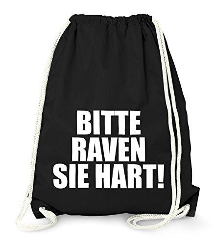 MoonWorks Cooler Techno Turnbeutel, Bitte Raven Sie Hart!, Party Feiern Sprüche Techno Gym Bag Sack schwarz Unisize