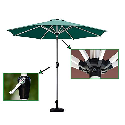 ZJM-umbrella Parasols Parapluie de Patio Vert pour Balcon, Parapluie UV de Tableau Marché de Protection Anti-Rouille de 8.6ft, avec 8 Nervures Robustes et Inclinaison a Bouton-Poussoir