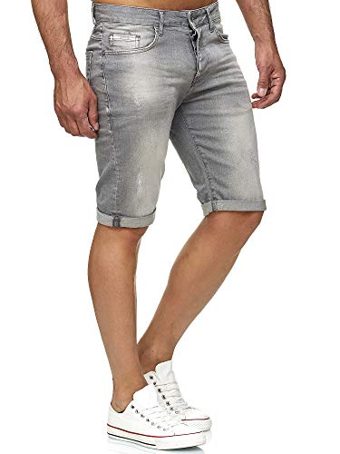 Red Bridge Herren Jeans Shorts Kurze Hose Denim Bermuda Stretch Capri Basic Blau Grau oder Weiß (W33, Grey)