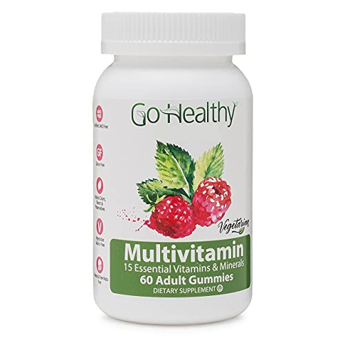 Multivitamin Gummies for Women and Men by Go Healthy - Vegetarian, Halal, OU Kosher (60 ct) 30 Servings Immune Support Vitamin C, D3 + Zinc