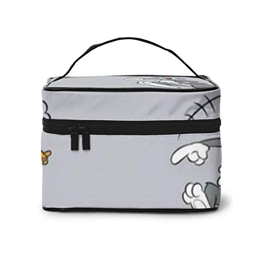 Makeup Bag, Hapy Tom and Jerry Travel Portable Cosmetic Bag Large Pouch Mesh B Organizer Toiletry Bag for Women Girls