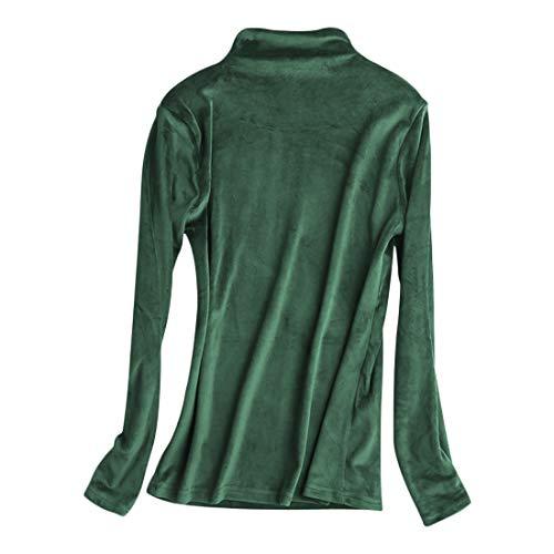 DEBAIJIA Camiseta Interior Térmico Manga Larga para Mujer Ropa Camisa Terciopelo Transpirable Delgado Suave Jersey Cuello Alto Ligera y Cálida