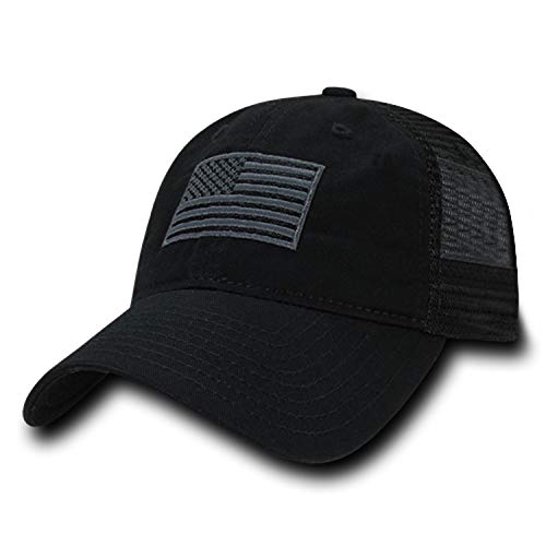 Rapid Dominance Soft Fit American Flag Embroidered Cotton Trucker Mesh Back Cap - Black