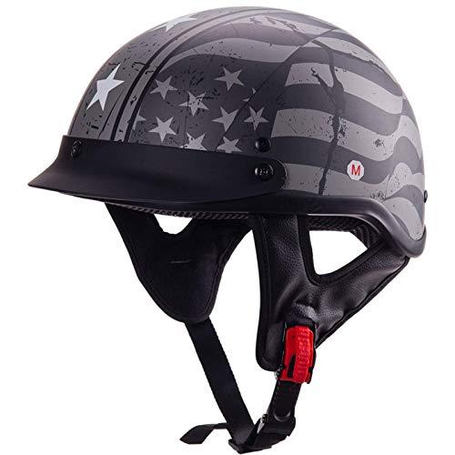 LAMZH Casco Medio de Motocicleta, Casco de Motocicleta Retro para Crucero Casco Scooter Freestyle Half Face Helmet Unisex Allround Celling Cascos (Color: Negro),Proteccion